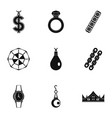 jewelry collection icon set simple style vector image vector image