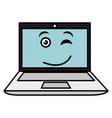 laptop computer kawaii character vector image vector image