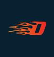 letter d flame logo speed logo design concept vector image