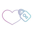 line heart design with security padlock element vector image vector image