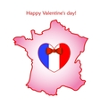 Map of France with flag and heart vector image vector image