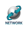 network sphere rotate blue arrow logo concept vector image vector image