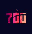 pink blue background color number 700 for logo vector image vector image