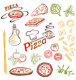 Pizza pasta set vector image vector image
