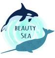 predatory animals living in ocean swimming around vector image