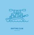 rafting kayaking flat line icon vector image vector image