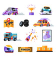 rally or car race isolated icons vehicles and vector image