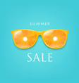 sale banner sunglasses with orange and mint vector image vector image