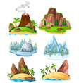 set of places in diffrent season vector image