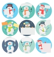 Set of Snowman Cartoons with Blank Message Board vector image
