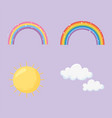 sky rainbows sun clouds bright stars icons vector image vector image