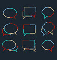speech bubbles linear icons of colorful dotted vector image vector image