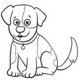 spotted puppy cartoon character coloring book page vector image vector image