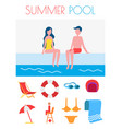 summer pool poster with icons vector image vector image