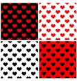 Tile pattern set with red and black hearts vector image