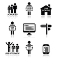 Unemployment job searches icons set vector image vector image