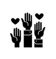 volunteer hands black concept icon vector image