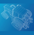 wire-frame tractor tracing of 3d vector image vector image