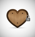 Wooden Love Heart with Lock vector image vector image