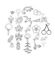 Woodland icons set outline style
