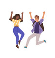 young happy people jumping flat vector image