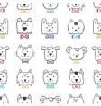 hand drawn doodle cartoon animal heads seamless vector image