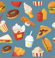 fast food seamless pattern with cold water vector image