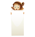 A girl holding an empty board vector image vector image