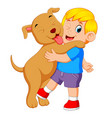 a little boy is playing and holding his big dog vector image vector image