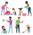 adults and kids cleaning together children vector image vector image