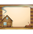 An empty template with a wooden house vector image vector image