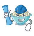 architect rice bowl character cartoon vector image