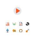 audio icons flat style set with archive frequency vector image vector image