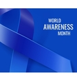 Awareness realistic blue ribbon background vector image vector image