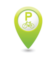 bicycle parking icon on green pointer vector image vector image