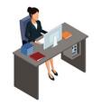 business woman on office desk 3d
