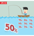 Cartoon businessman catching sale tag in the sea vector image vector image