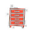 cartoon cupboard icon in comic style furniture vector image vector image