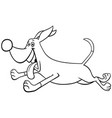 cartoon running dog character coloring book page vector image vector image