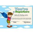 Certificate design with boy being superhero vector image vector image