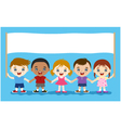 children hand in hand with banner vector image vector image