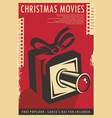 christmas movies festival retro poster design vector image vector image