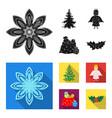 christmas tree angel gifts and holly blackflat vector image vector image