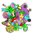 colorful 90s fashion patches doodle template vector image
