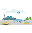 concept airport banner airstrip with passenger vector image