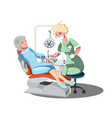 cute old lady at the dentist vector image