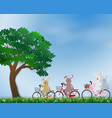 cute rabbits the gang happy in the meadow vector image vector image