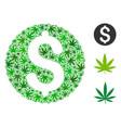 dollar coin mosaic of hemp leaves vector image