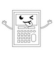 dotted shape funny calculator object kawaii with vector image