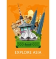 Explore Asia banner with famous attractions vector image vector image